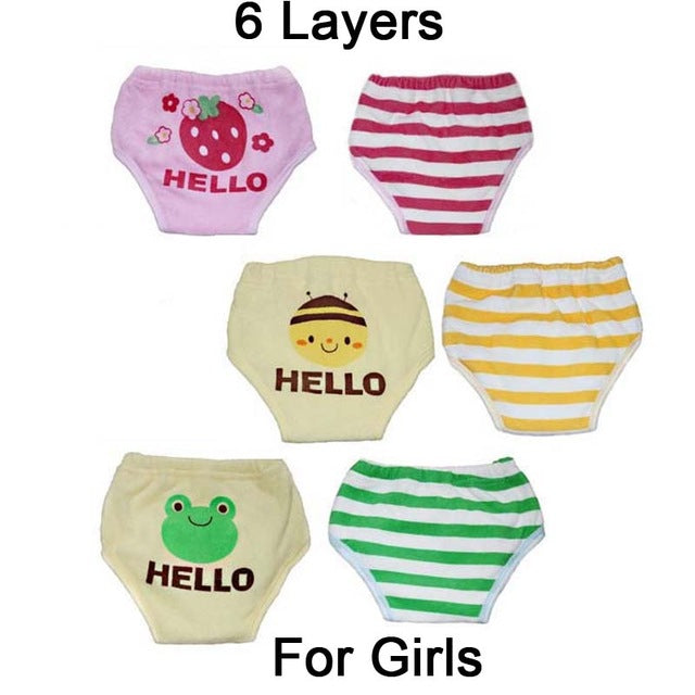 Six Layers Reusable Baby Training Pants 4pcs
