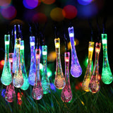 Mini Multicolor LED Solar Powered Water Drop String Lights - 40 LED - 25ft