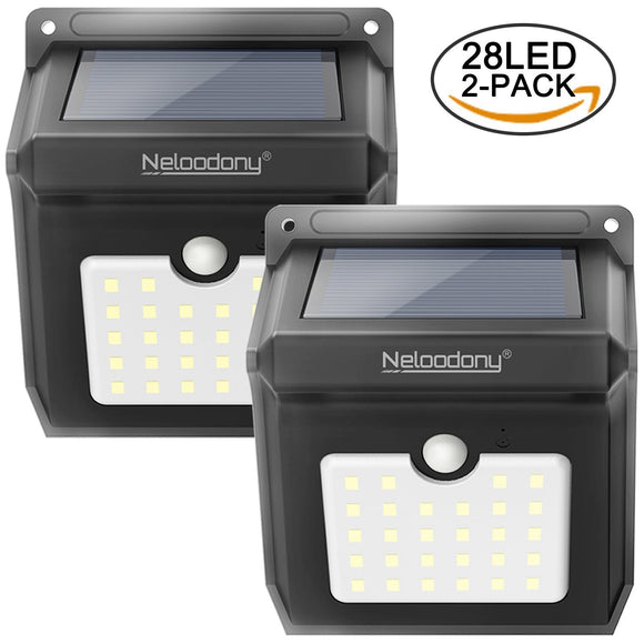 Wireless Solar Motion Sensor Light, Waterproof with 28 LEDs - 2 Pack