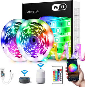 32ft RGB Led Strip Light Kit - Waterproof - Remote Control, App or WIFI