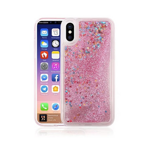 For iPhone X Cases Quicksand Liquid Floating Bling Clear  Anti Fall Case-Pink