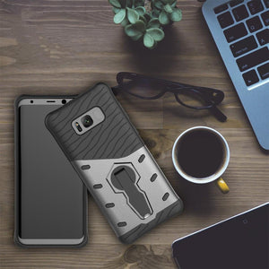 For Galaxy S8 Plus Cases Anti fall protective, War Armour Two in one Bracket Mobile Phone Cover-Black