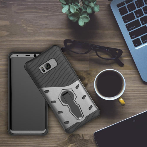 For Galaxy S8 Cases Anti fall protective, War Armour Two in one Bracket Mobile Phone Cover-Black