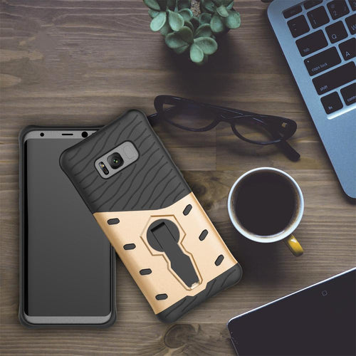 For Galaxy S8 Cases Anti fall protective, War Armour Two in one Bracket Mobile Phone Cover-Gold
