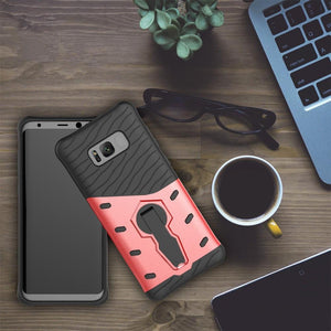 For Galaxy S8 Cases Anti fall protective, War Armour Two in one Bracket Mobile Phone Cover-Red