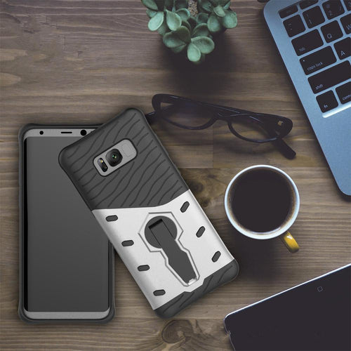 For Galaxy S8 Cases Anti fall protective, War Armour Two in one Bracket Mobile Phone Cover-Silver