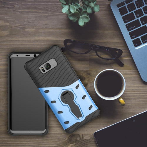 For Galaxy S8 Cases Anti fall protective, War Armour Two in one Bracket Mobile Phone Cover-Blue