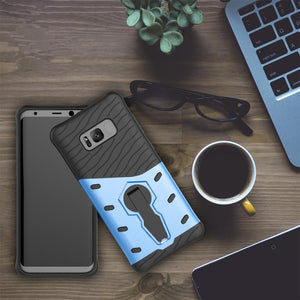 For Galaxy S8 Plus Cases Anti fall protective, War Armour Two in one Bracket Mobile Phone Case-Blue