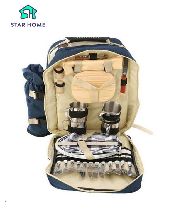 Star Home Portable Picnic Backpack With Tableware 4 Person Outdoor Camping Bag Waterproof Canvas Food Insulated Picnic Bags
