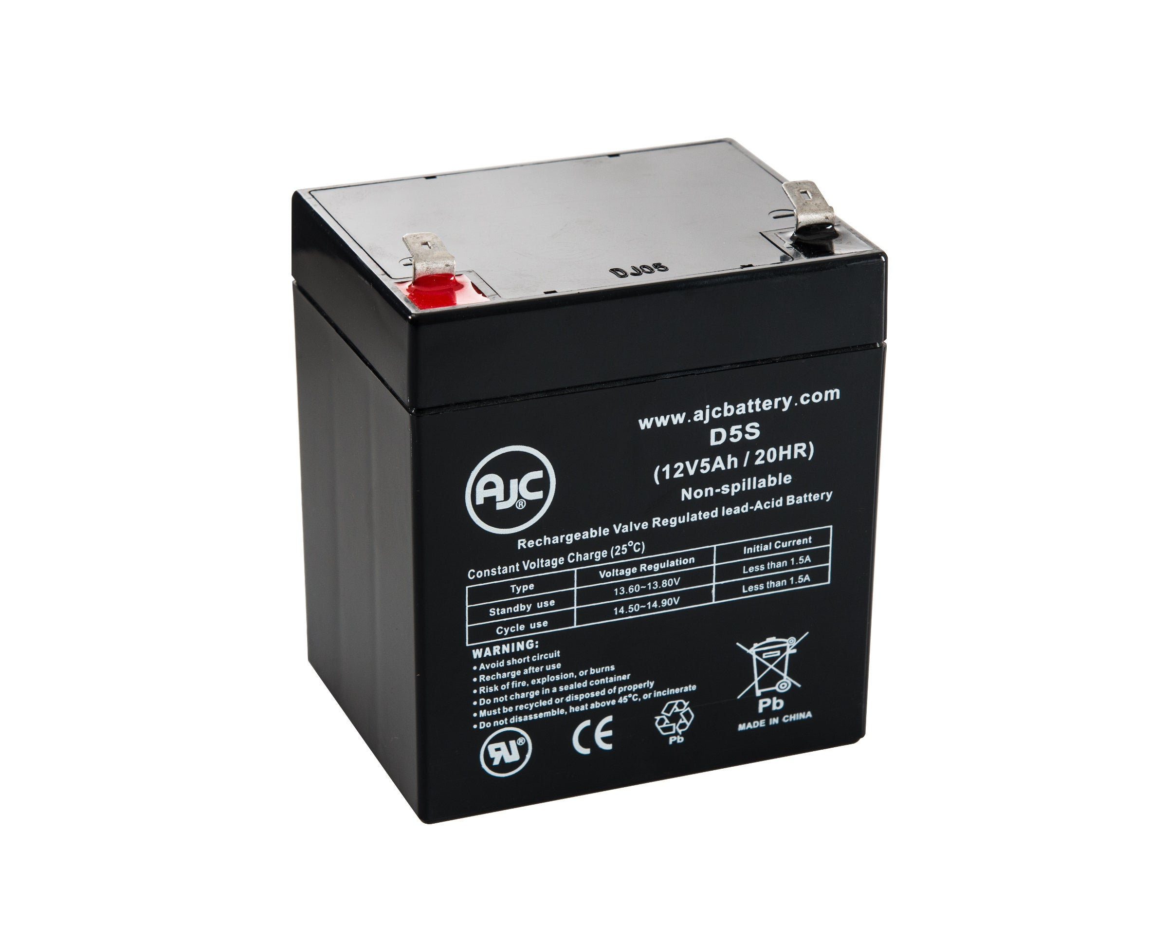 This is an AJC Brand Replacement DSC Power 832 12V 5Ah Alarm Battery