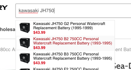 search for kawasaki jh750 replacement battery
