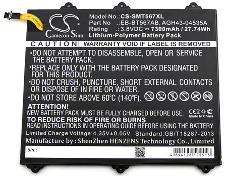 Samsung Galaxy Tab E 9.6 XLTE SM-T560NU SM 7300mAh Replacement Battery