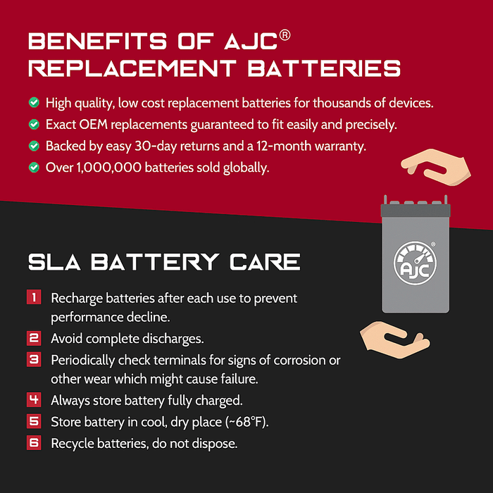 AJC Battery Brand Replacement for a GC6657 6V 7Ah Sealed Lead Acid Replacement Battery-5