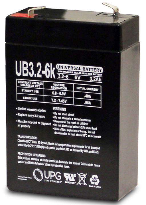 Hubbell 120922 6V 3.2Ah Emergency Light Battery
