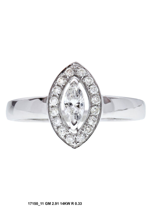 17150-11 - 14K White Gold Halo Engagement Ring - Pawn212