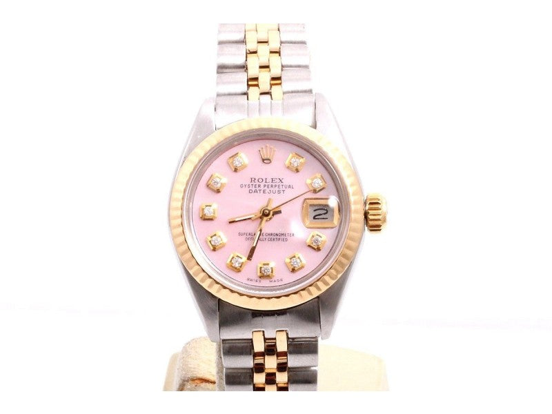 Rolex Datejust 2tone 14K Yellow Gold And Stainless Steel Custom Pink Diamond Dial 26mm Womens Watch - Pawn212