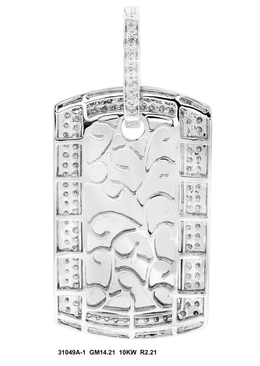 31049A-1 - 10K White Pendant Dog Tag - Pawn212