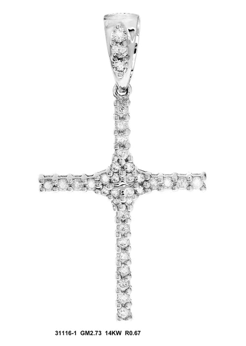 31116-1 - 14K White Cross Pendant - Pawn212