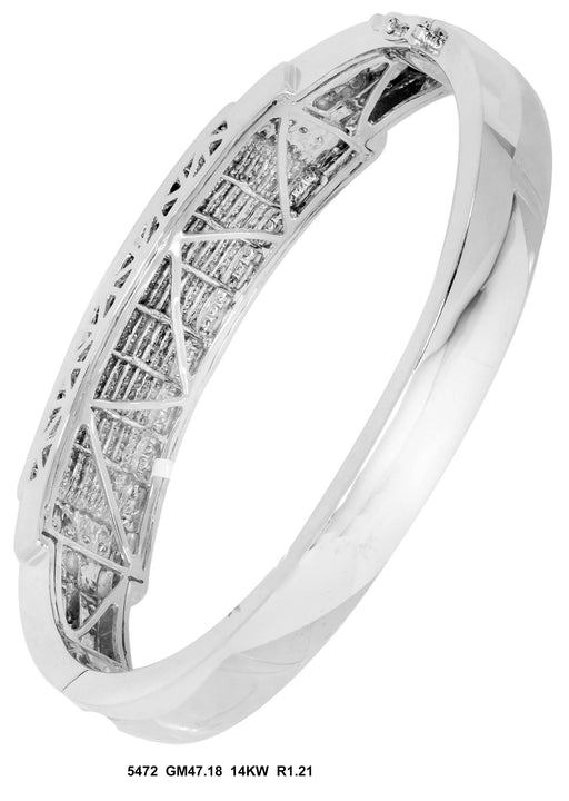 5472-4 - 14K White Men's Bangle - Pawn212