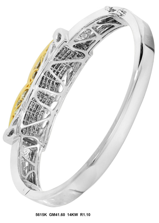 5615K-1 - 14K White/Yellow Men's Bangle - Pawn212