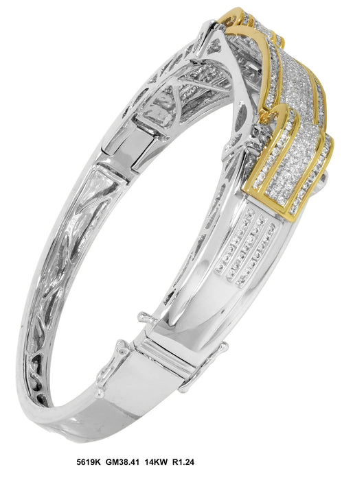 5619K-1 - 14K White/Yellow Men's Bangle - Pawn212