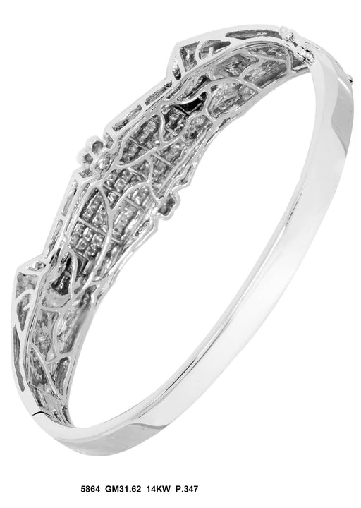 5864-1 - 14K White Men's Bangle - Pawn212