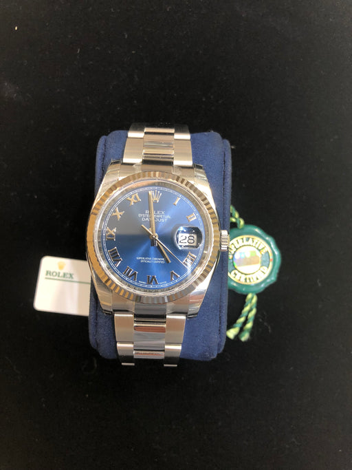 Rolex Datejust Oyster Perpetual, Stainless Steel Fluted Bezel, Oyster Bracelet, Blue Roman Dial, 36MM, Model 116234 - Pawn212