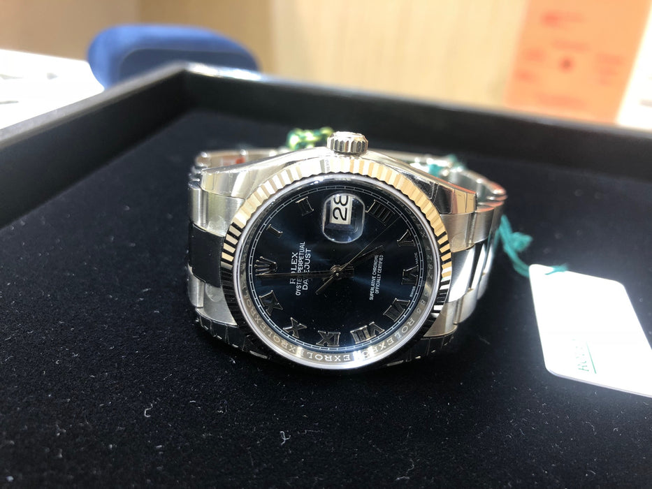 Rolex Datejust Oyster Perpetual, Stainless Steel Fluted Bezel, Oyster  Bracelet, Blue Roman Dial, 36MM, Model 116234