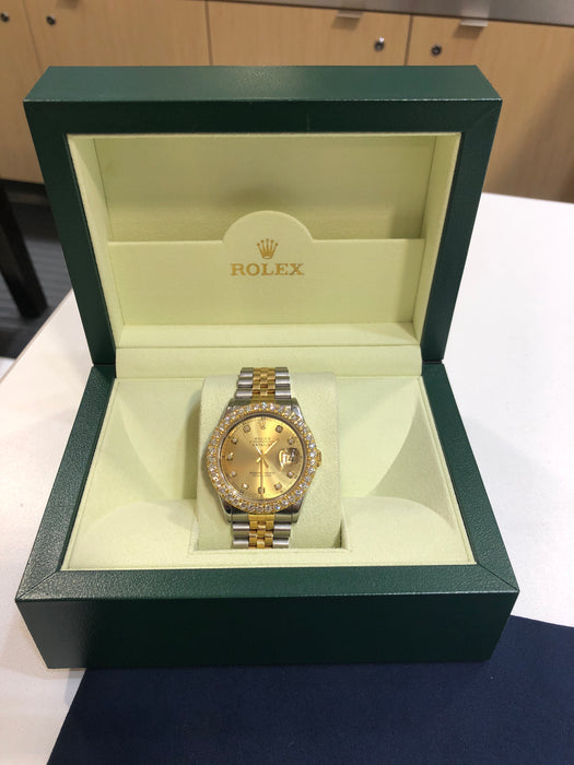 Rolex Datejust Oyster Perpetual with 3 CT VS Custom Diamond Bezel. Box and Appraisal Included. - Pawn212