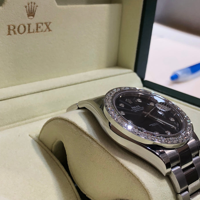 Rolex Oyster Perpetual Datejust, Black/Diamond Dial with Diamond Bezel (Comes with BOX) - Pawn212