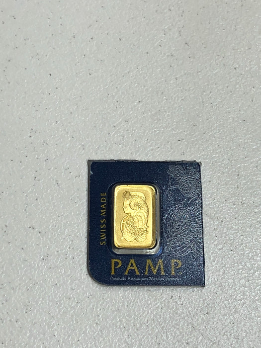 Small Sealed One (1) Gram Gold Bar PAMP SUISSE FINE GOLD 999.9 PURITY WITH CERTIFICATE ASSAYER - Pawn212