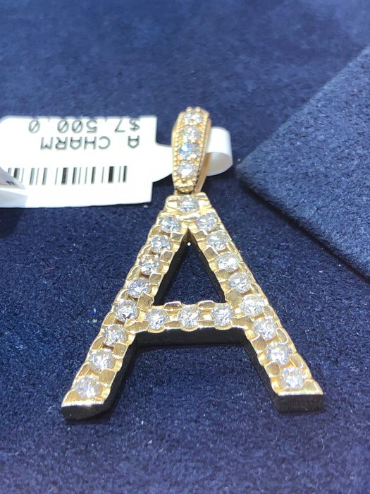 "Diamond Encrusted Custom Letter ""A"" Pendant - Pawn212"