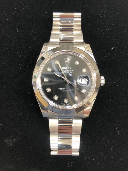 Rolex Datejust Oyster Perpetual, Stainless Steel Custom Black Diamond Dial, 41mm, Model 116300 - Pawn212
