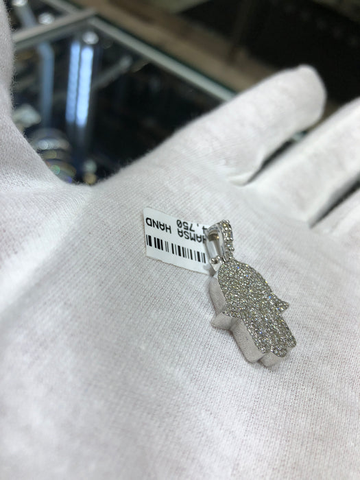 Hamsa Hand 14k solid white Gold with 1.20 CT VS1 Diamonds - Pawn212
