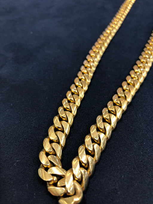 Miami Cuban Link Chain in 14K Solid Yellow Gold, 28 Inches Length, 10mm Thick, 219.6 Gram Weight - Pawn212