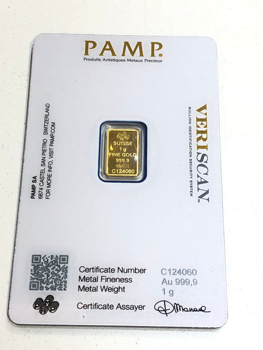 Large Sealed One (1) Gram Gold Bar PAMP SUISSE FINE GOLD 999.9 PURITY WITH CERTIFICATE ASSAYER - Pawn212