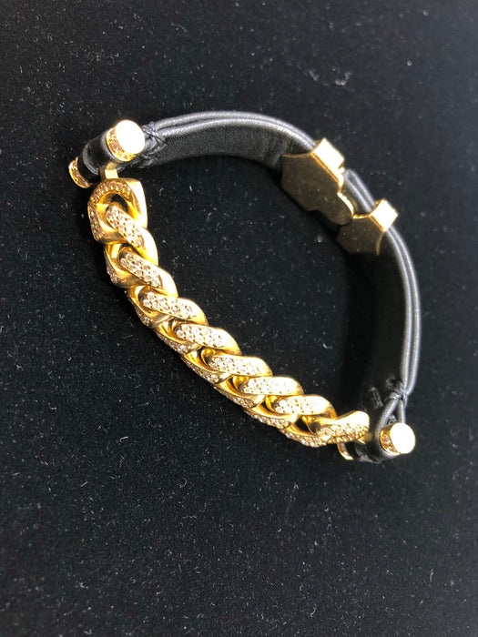 Gold and Diamond Bracelet, Leather Band, 4.5CT VS Diamonds - Pawn212