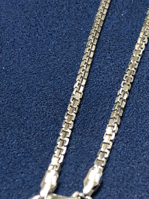Box Link Chain - 14k Solid White Gold - 24 Inches Length - Weighing 12.6 Grams - Pawn212