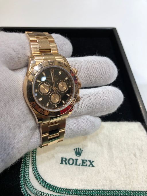 Rolex Daytona Cosmograph 18K Rose Gold With Black Dial. Box and Papers. Reference Number: 116505 - Pawn212