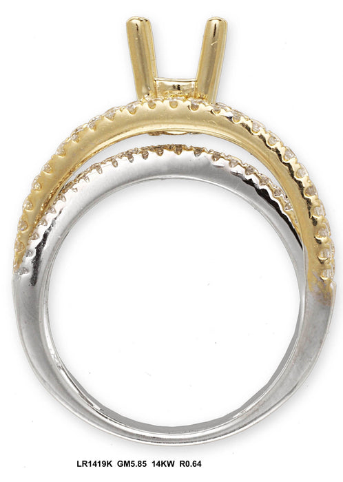 LR1419K - 14K White/Yellow Ring