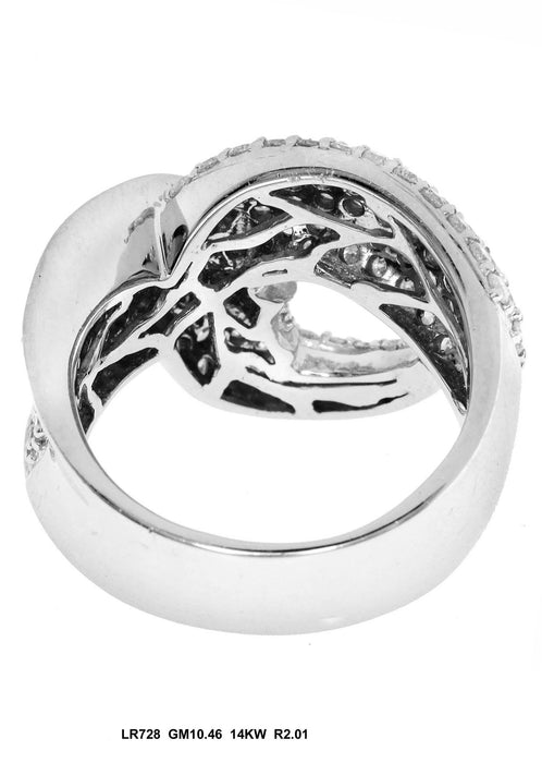 LR728 - 14K White Gold Cocktail Ring