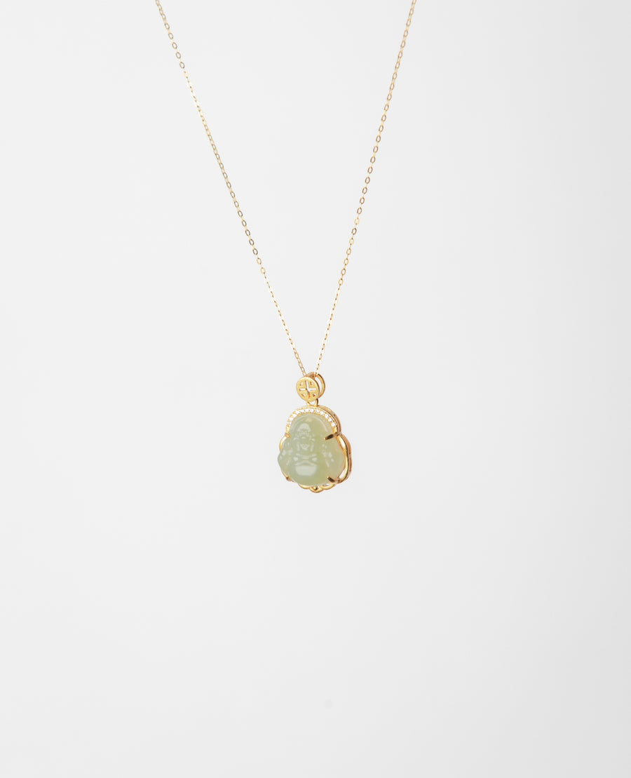 Buddha Jade Sterling Silver Necklace