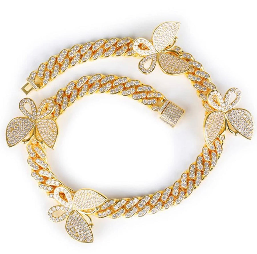 Gold Butterfly Cuban Choker