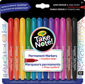 Crayola 58-9420 Take Note! Permanent Markers, 12 Count - Tesla Amazing Canada