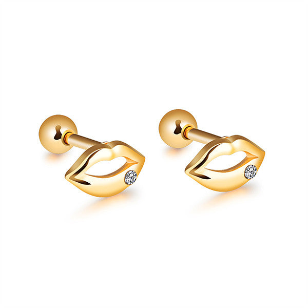 Sexy Lips Stud Earrings Women Men Earring Jewelry Stainless Steel
