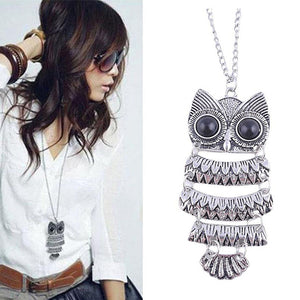 SUSENSTONE Lady Women Vintage Silver Owl Pendant Necklace Best Gift For XMAS