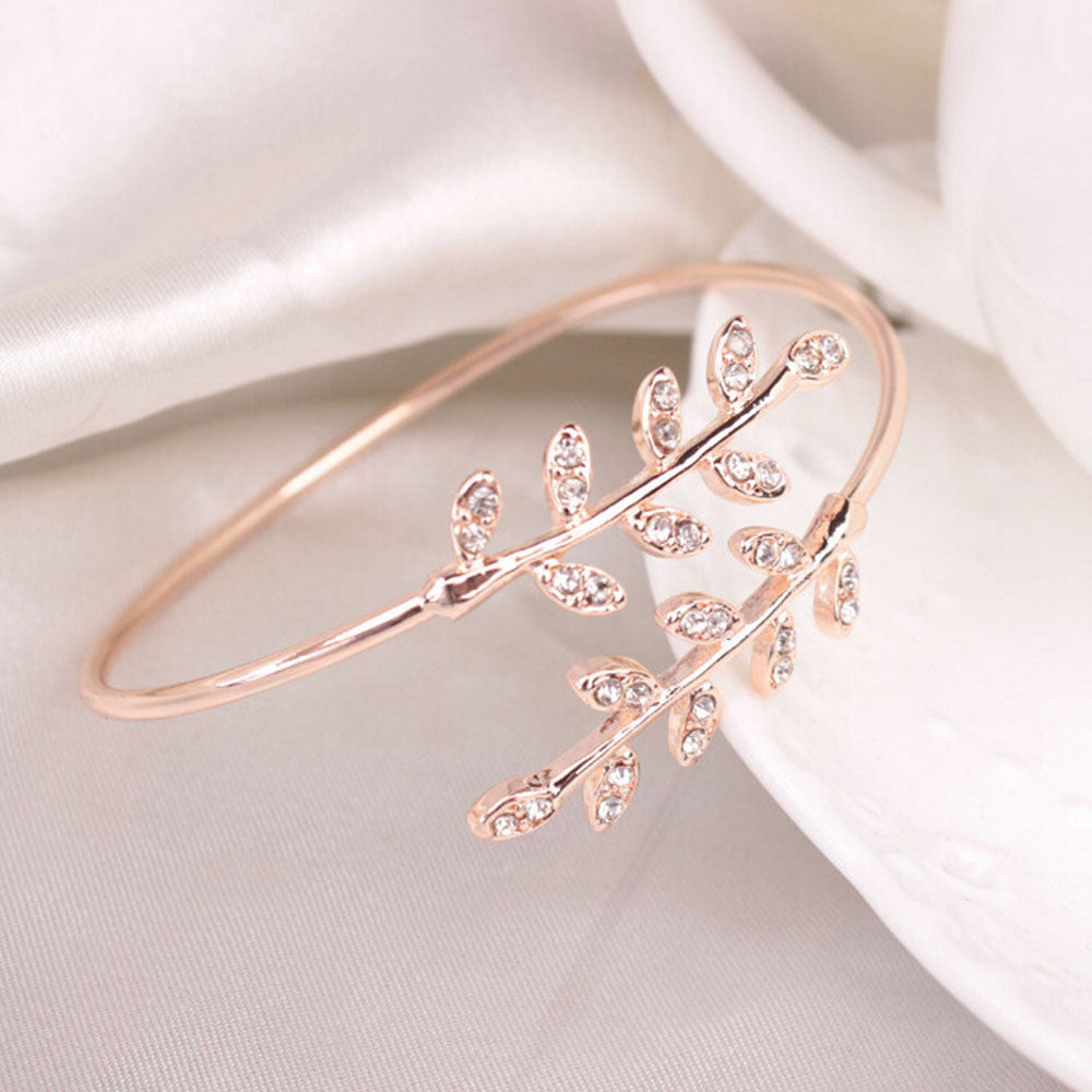 Fashion Women Leaf Cuff Charm Open Bracelet Bangle Arm Jewelry RG