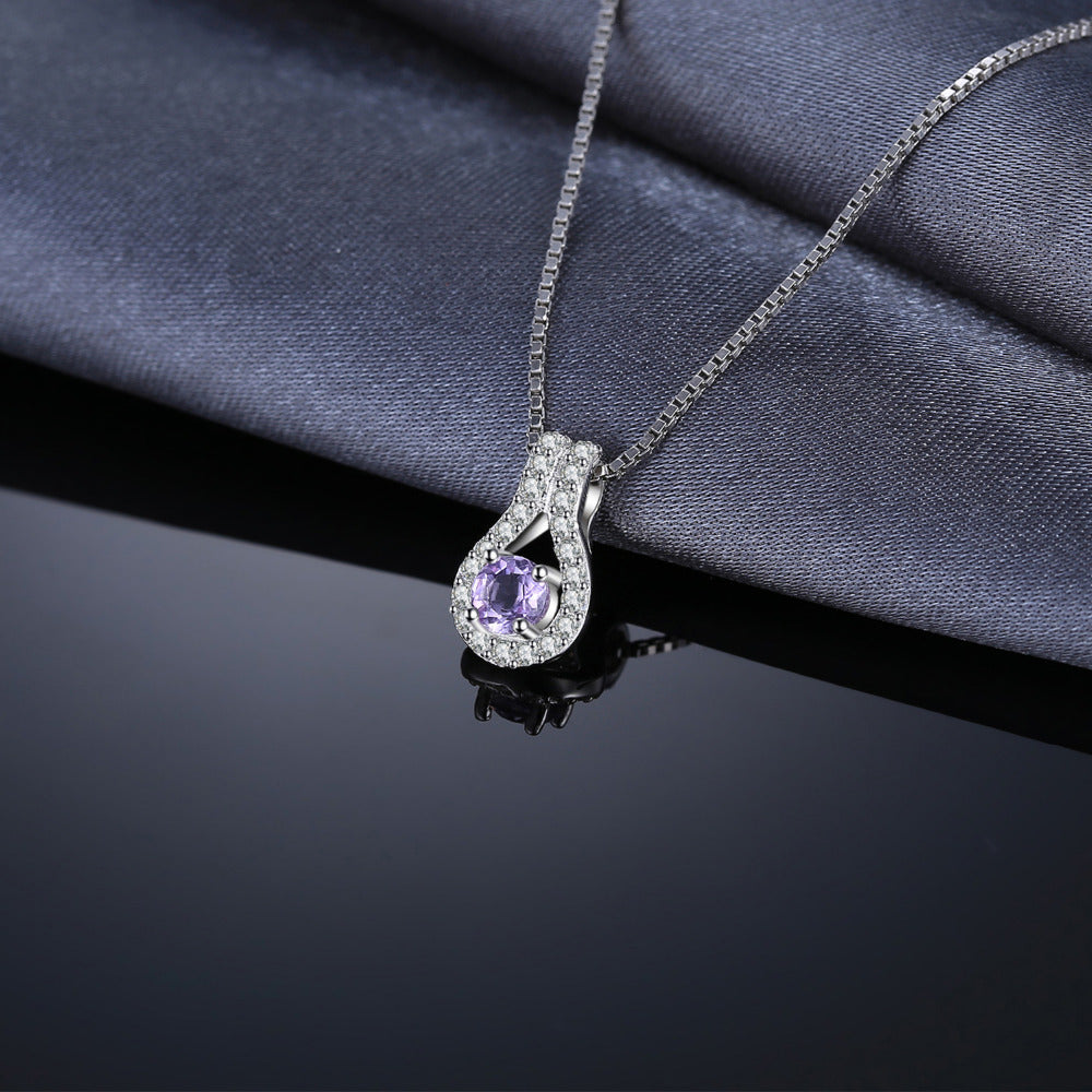 Genuine Amethyst Pendant For Women 100% 925 Sterling Silver Fine Accessories Not Include A Chain