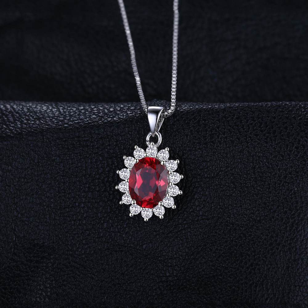 Red Ruby Pendant 925 Sterling Silver Not Include The Chain