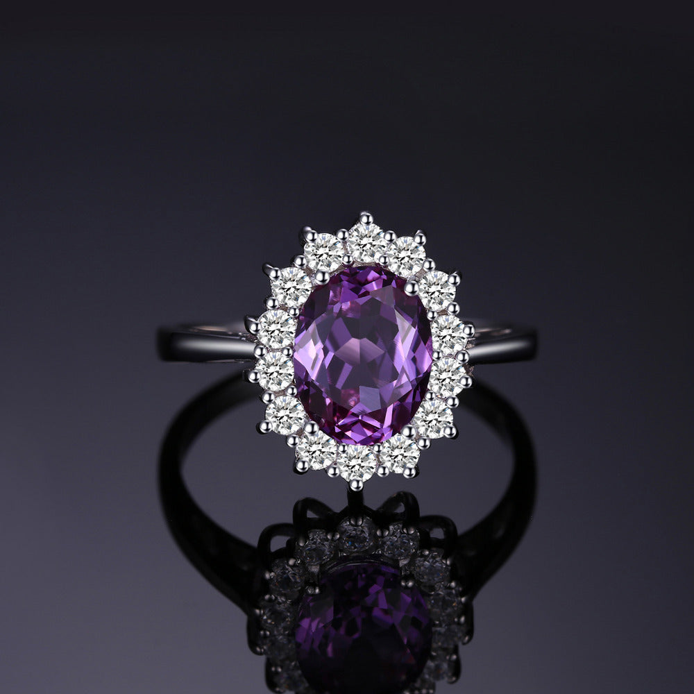Created Alexandrite Sapphire Ring 925 Sterling Silver Fine Jewelry